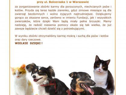 Dziękujemy szkole podstawowej przy ul. Balcerzaka w Warszawie za zorganizowanie zbiórki